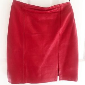 Genuine red leather skirt, size 3/4 small
